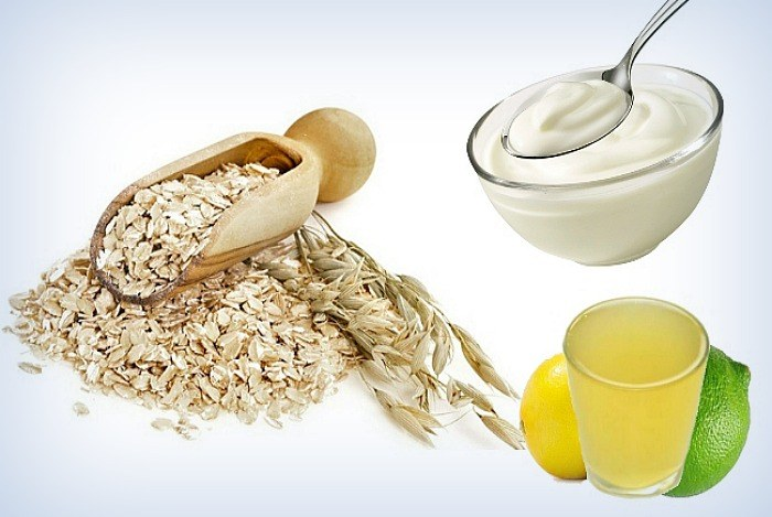 yogurt, oatmeal, lemon juice